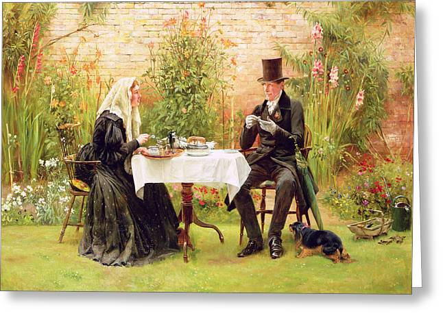 The Widow At Home Greeting Card by Walter Dendy Sadler