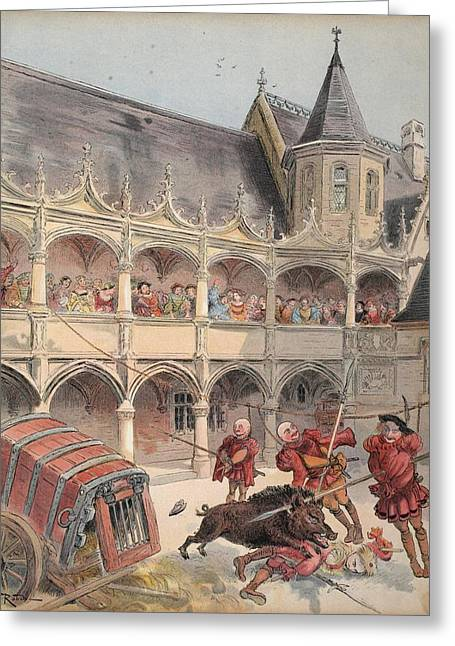 The Wild Boar Of Amboise, Illustration Greeting Card by Albert Robida