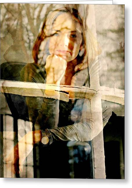 The Window Pane Greeting Card by Diana Angstadt