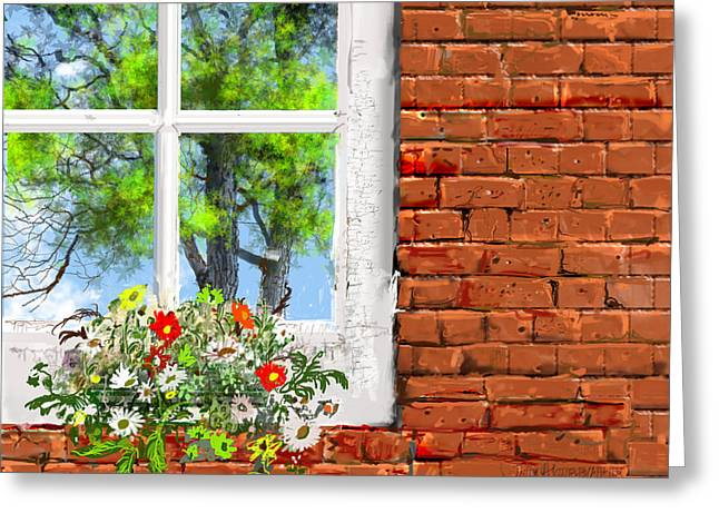 The Window Triptych Summer Greeting Card by Jim Hubbard