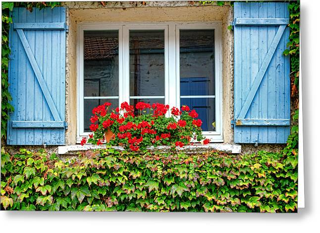 The Window With The Geraniums And The Blue Shutters Greeting Card