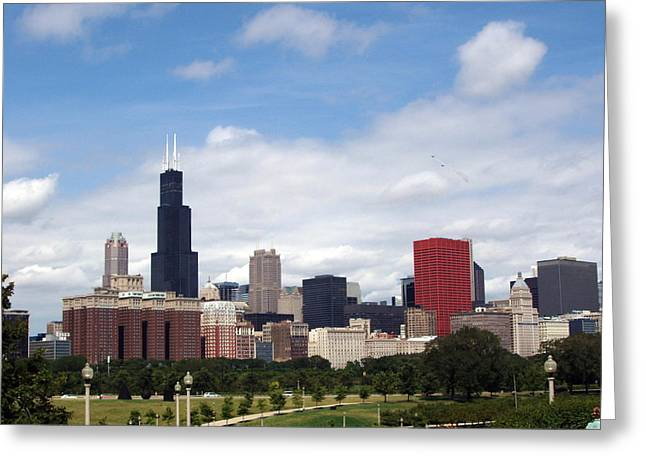 Greeting Card featuring the photograph The Windy City by Teresa Schomig