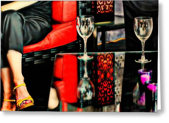 The Wine Bar Greeting Card by Diana Angstadt