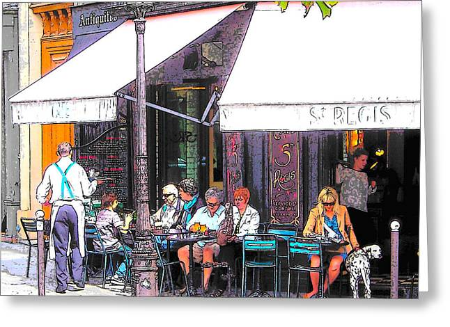 The Wine Bar In Paris Greeting Card by Jan Matson