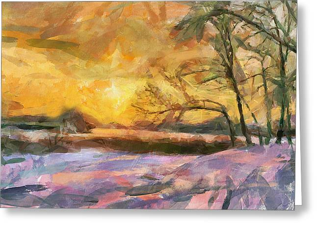 The Winter Sunset Greeting Card