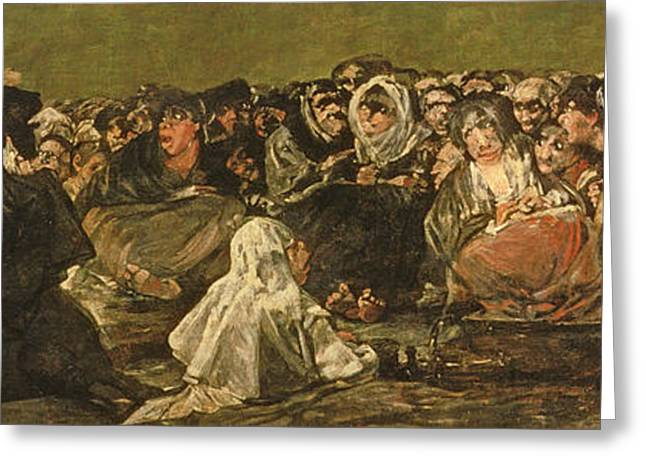 The Witches Sabbath Or The Great He-goat, One Of The Black Paintings, C.1821-23 Oil On Canvas Greeting Card