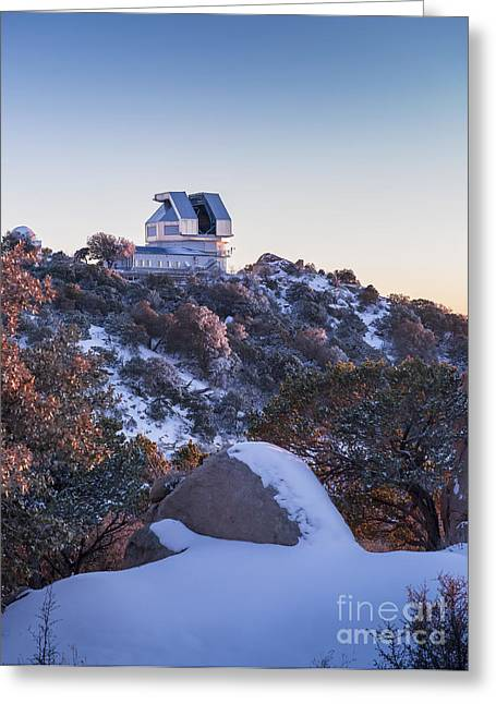 The Wiyn Observatory On Top Of Snow Greeting Card