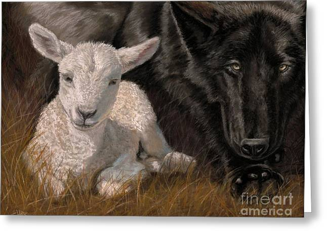 Greeting Card featuring the painting The Wolf And The Lamb by Sheri Gordon