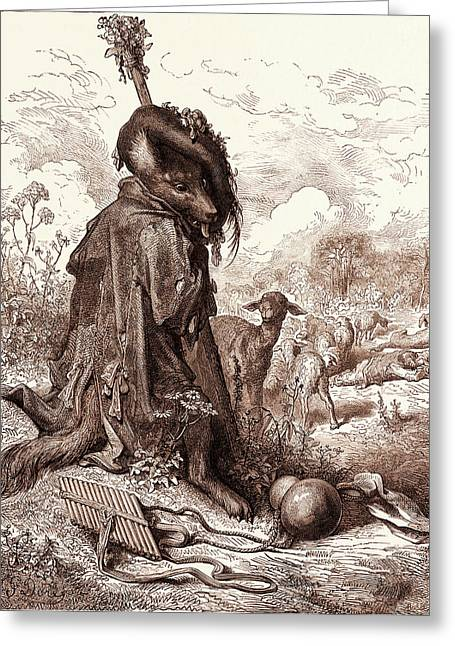 The Wolf Turned Shepherd, By Gustave Dore Greeting Card