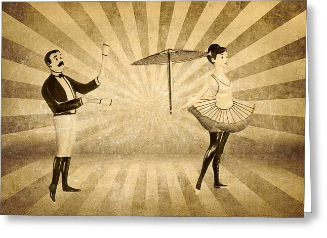 The Woman And The Acrobat Greeting Card