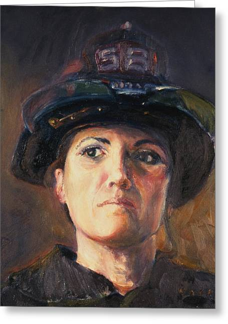 The Woman From Engine 58 Greeting Card