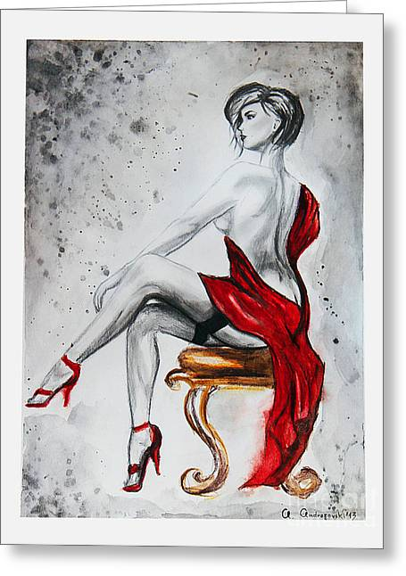 The Woman In Red Greeting Card by Anna Androsovski