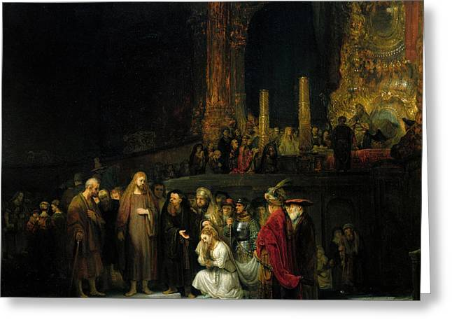 The Woman Taken In Adultery Greeting Card by Rembrandt