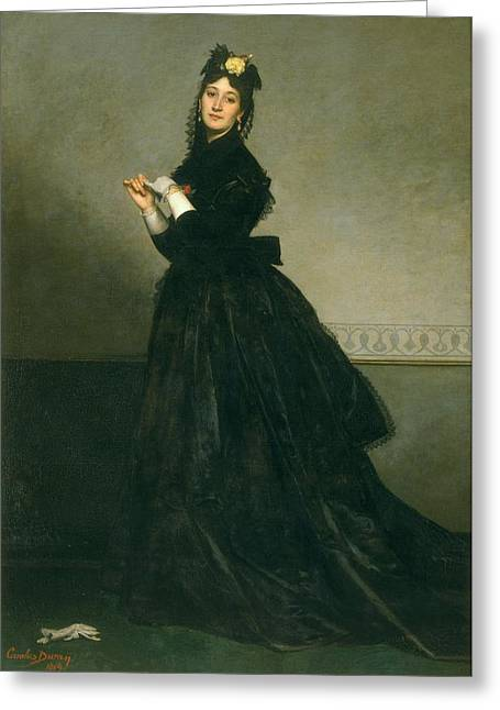 The Woman With The Glove, 1869 Oil On Canvas Greeting Card