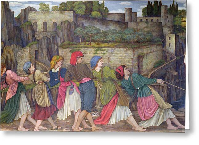 The Women Of Sorrento Greeting Card by John Roddam Spencer Stanhope