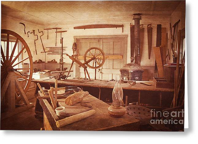 The Wood Workers Shop Vintage Greeting Card