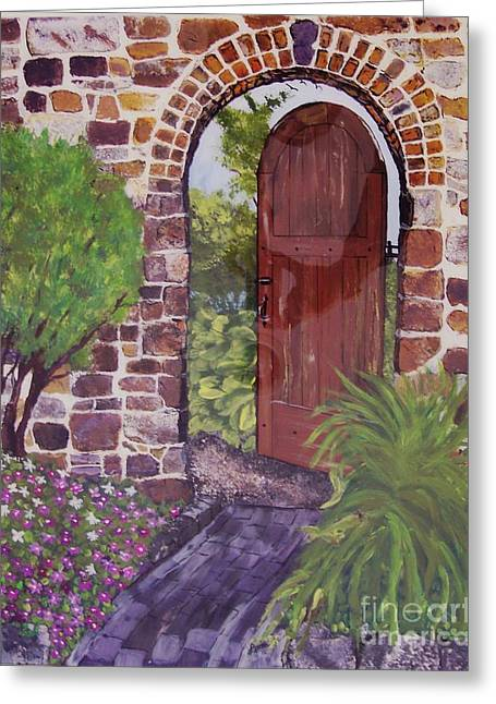 Greeting Card featuring the painting The Wooden Door by Lucia Grilletto