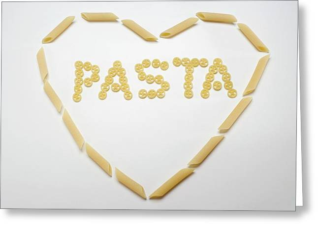 The Word 'pasta' (wagon Wheel Pasta) In A Heart (penne) Greeting Card
