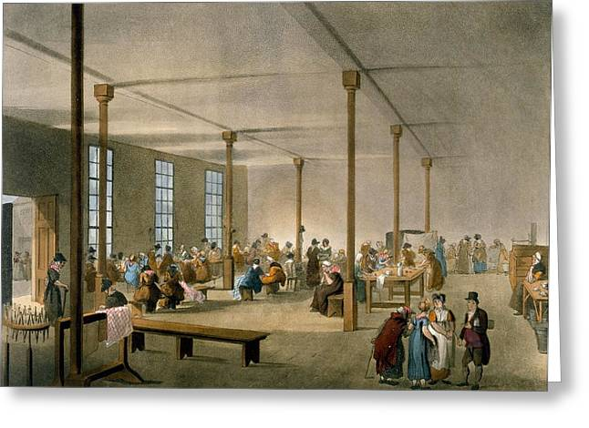The Workhouse, St James, Parish, London Greeting Card by T. & Pugin, A.C. Rowlandson