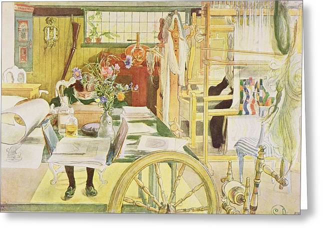 The Workroom, Pub. In Lasst Licht Hinin Greeting Card by Carl Larsson