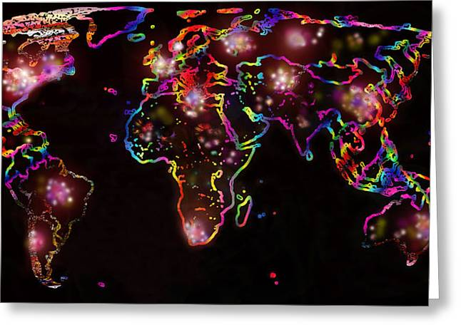The World At Night  Greeting Card