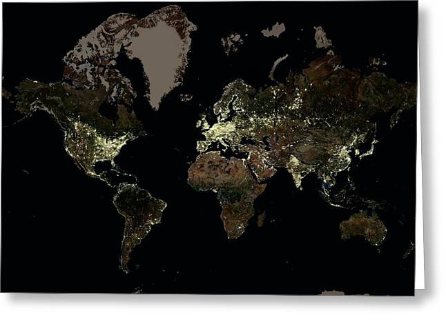 The World At Night Greeting Card by Planetobserver