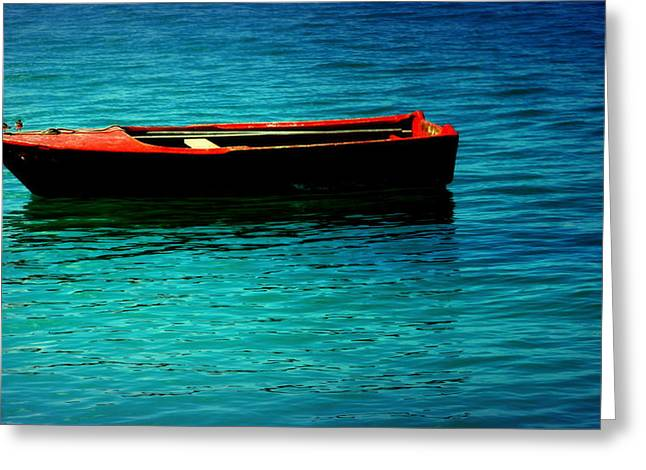 Little Red Boat Of Tranquility Greeting Card by Karen Wiles