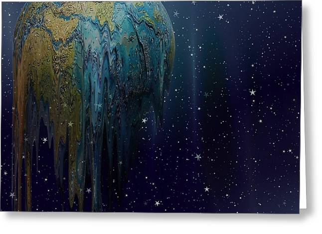 The World Is Melting Greeting Card by Liane Wright