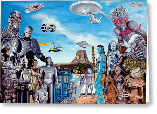 The World Of Sci Fi Greeting Card by Tony Banos