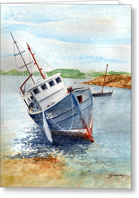 The Wreck Greeting Card by Christian Simonian