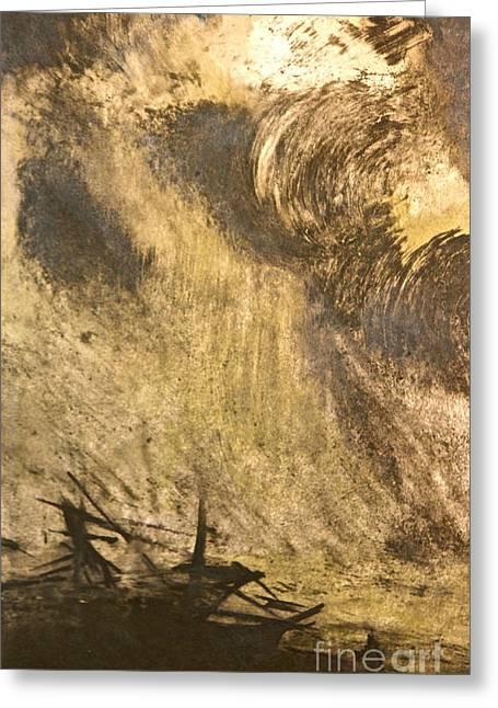 The Wreck- Mono Print Greeting Card by Deborah Talbot - Kostisin