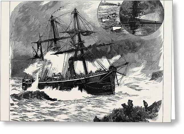 The Wreck Of H.m.s. Phoenix Off Prince Edwards Island Greeting Card by English School