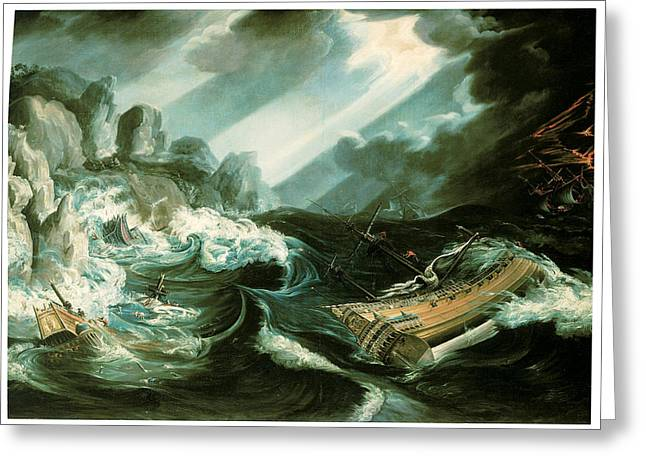 The Wreck Of The Amsterdam Greeting Card by Flemish School