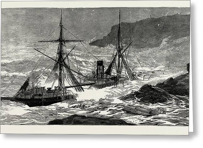 The Wreck Of The Cunard Steamship Malta Off Cape Cornwall Greeting Card