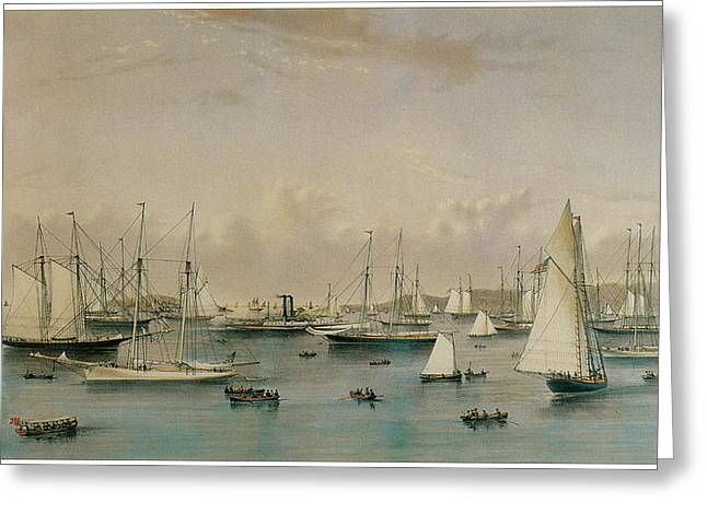 The Yacht Squadron At Newport Greeting Card by Nathaniel Currier and James Merritt Ives