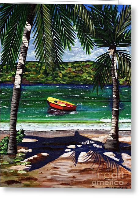 Greeting Card featuring the painting The Yellow And Red Boat by Laura Forde