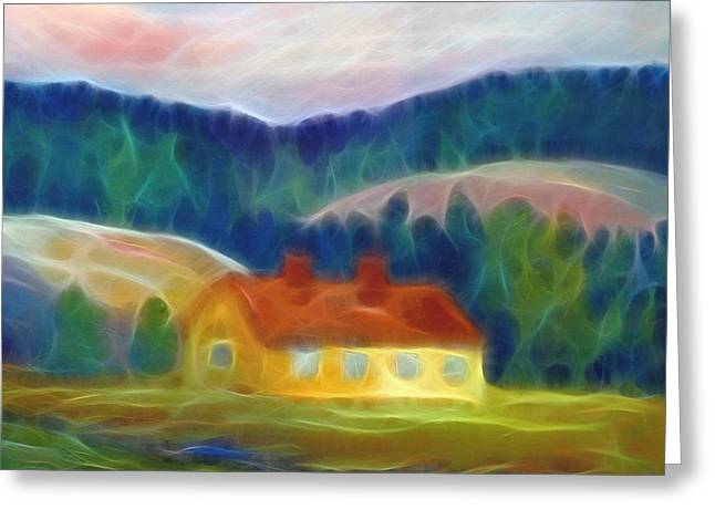 The Yellow Cottage Greeting Card by Lutz Baar