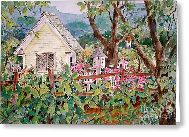 The Yellow Potting Shed Greeting Card by Sherri Crabtree