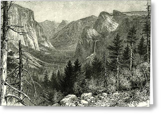 The Yosemite Valley From Artist Point New York 1891 Usa Greeting Card by American School