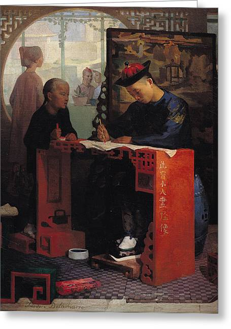 The Young Chinese Scribe Oil On Canvas Greeting Card by Theodore Delamarre