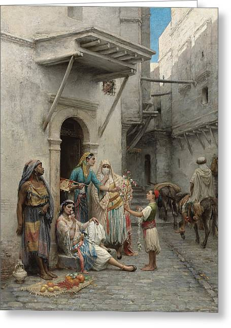 The Young Flower Seller Greeting Card by Pierre Outin
