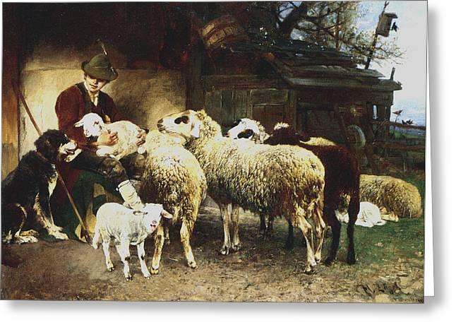 The Young Shepherd Greeting Card by Heirich von Zugel
