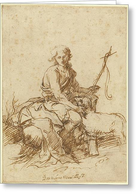 The Youthful Saint John The Baptist Seated In A Landscape Greeting Card by Litz Collection