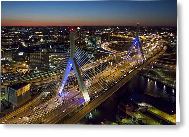 The Zakim Bridge At Night. Greeting Card by Dave Cleaveland