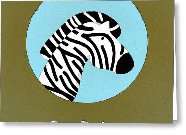 The Zebra Cute Portrait Greeting Card by Florian Rodarte