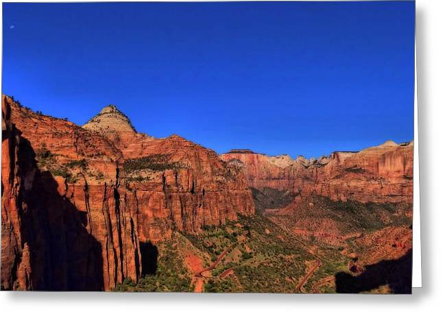 The Zion Valley From The Outlook In Utah Greeting Card by Dan Sproul