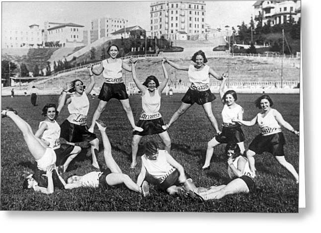 Theater Girls Doing Exercises Greeting Card by Underwood Archives