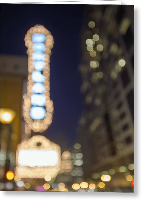 Theater Marquee Lights On Broadway Bokeh Background Greeting Card