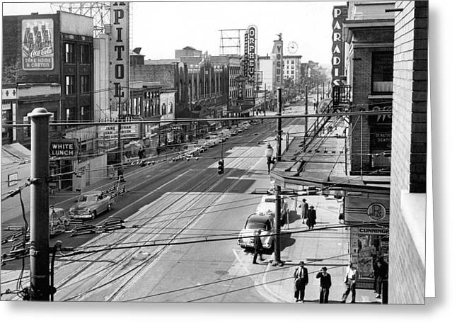 Theater Row - Vancouver Canada - 1951 Greeting Card by Daniel Hagerman