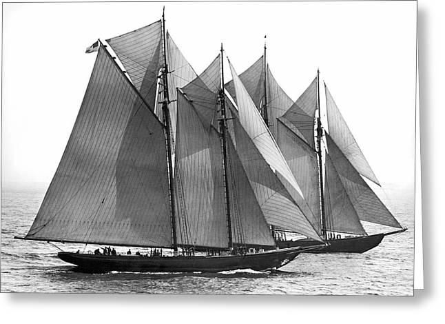 Thebaud Passes Bluenose Greeting Card by Underwood Archives